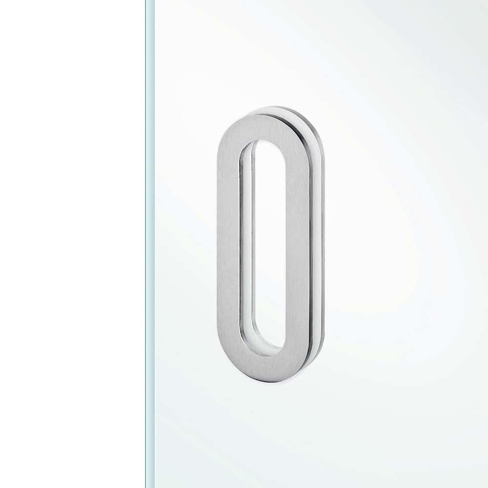 Schuifdeurkom RVS ovaal model 300x15mm voor glas deur zelfklevend 3M universeel zonder boren